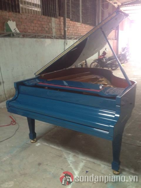 Sơn đàn piano Samick màu xanh dương