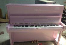 Sơn đàn piano Yamaha U1H màu hồng